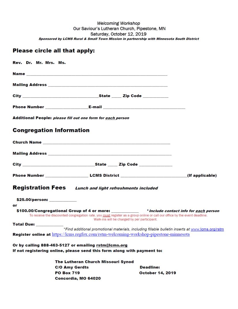 RSTM, Registration